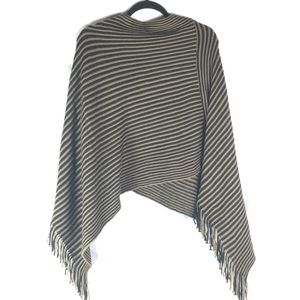 Super Soft Brown and Black Striped Fringed Poncho